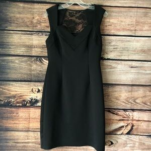 Black Lace Back Fitted Dress